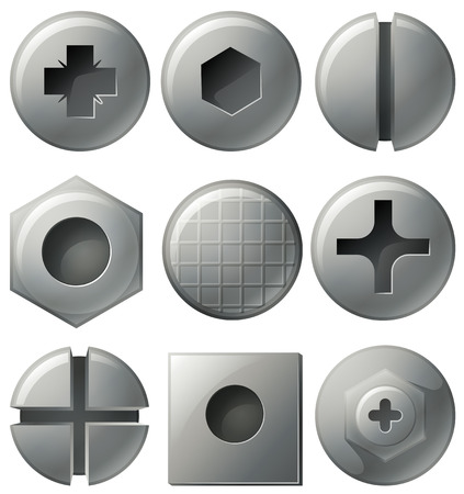Nine different designs on round and square nailheads illustration