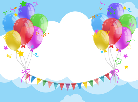 celebrate: A Background template with balloons and flags in the sky illustration. Illustration