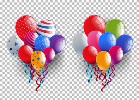 Two bunches of colorful balloons on transparent background illustration. Çizim