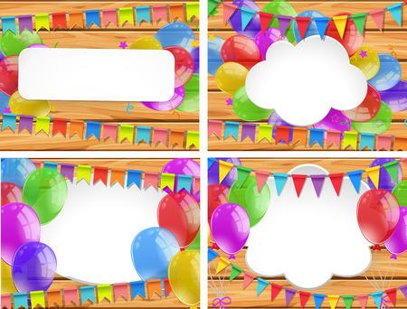 celebrate: Colorful balloons on wooden boards illustration Illustration