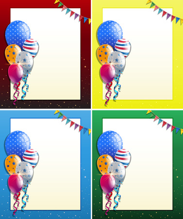 celebrate: Four frame designs with balloons and party flags illustration