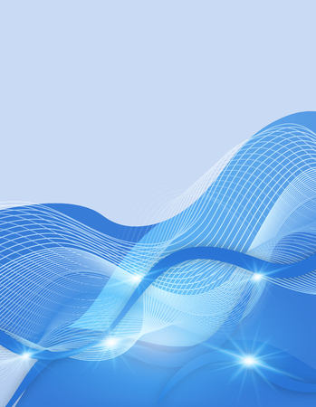 Background template with blue wavy lines illustration Reklamní fotografie - 87354710