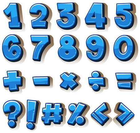 six objects: Font design for numbers and signs in blue illustration