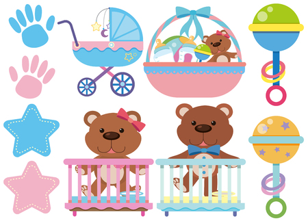 Baby toys and accessories on white background illustration