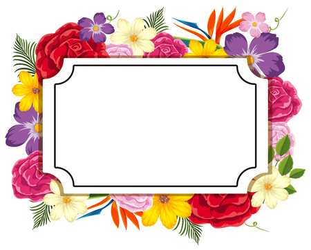 Border template with colorful flowers illustration  イラスト・ベクター素材
