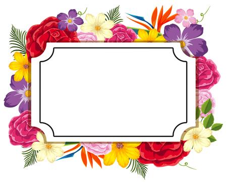 Szablon granicy z ilustracją kolorowych kwiatów