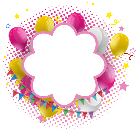 celebrate: Frame template wtih pink and yellow balloons illustration Illustration