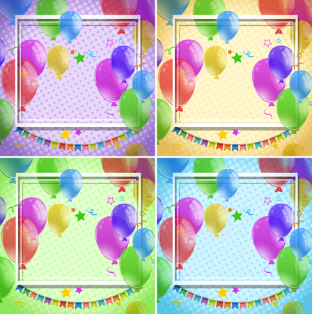 celebrate: Border template with colorful balloons on four different backgrounds illustration
