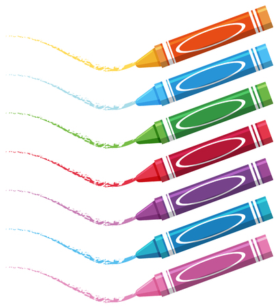 Seven different color crayons on white background illustration