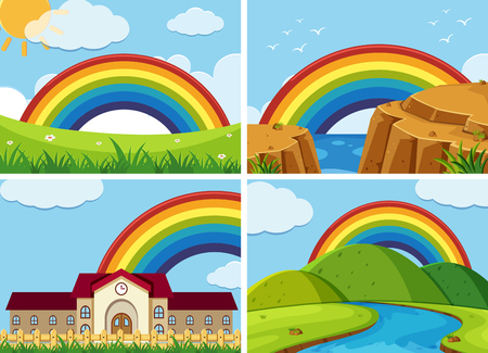 Four scenes with rainbow in the sky illustration. Illustration