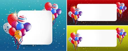 celebrate: Three border templates with party balloons illustration Illustration