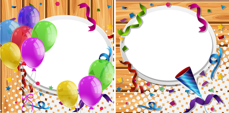 celebrate: Two invitation cards with balloons and party ribbons.