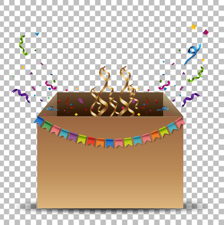 celebrate: Cardboard box with flags and ribbons illustration. Illustration
