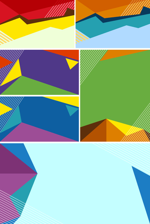 businesscard: Different background design with colorful shapes illustration