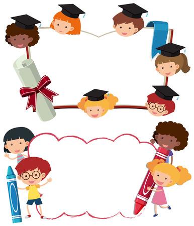 Twee grenssjablonen met schooljongens en meisjesillustratie Stockfoto - 87354821