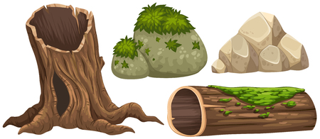 Log and rocks with moss on top illustration