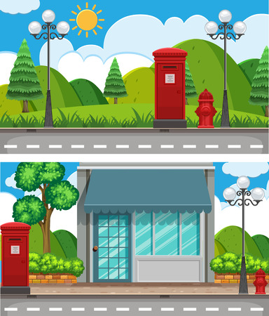Two scenes with shop and park illustration Illustration
