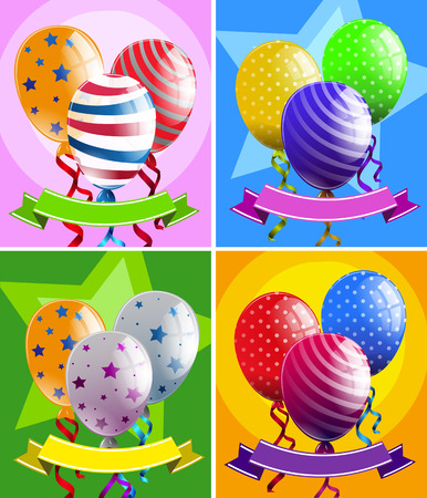 Balloons and banners in four designs illustration
