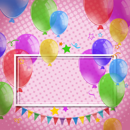 celebrate: Design with balloons and flags on pink wall illustration