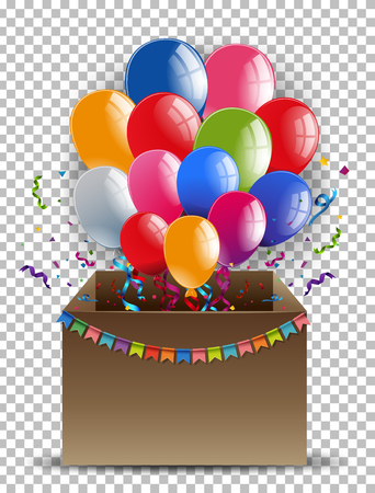 celebrate: Cardboard box with colorful balloons illustration Illustration