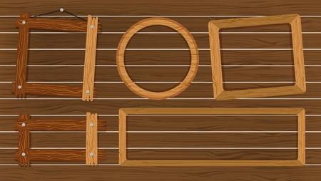 Different shapes of frames on wooden wall illustration Illustration