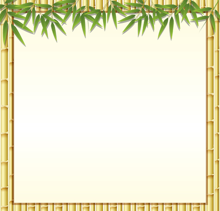 Border template with brown bamboo stems illustration Иллюстрация