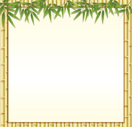 Grens sjabloon met bruine bamboe stengels illustratie Stock Illustratie