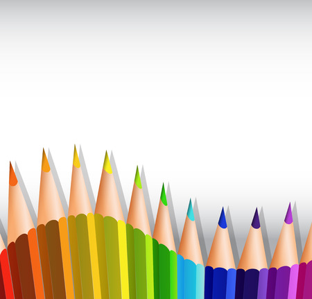 writing instruments: Colorful pencils at the bottom of paper illustration