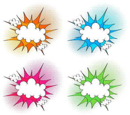 Four cloud template with different color splash in backgrounds illustration Illustration