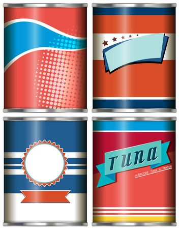 tin: Canned food design in red and blue illustration Illustration