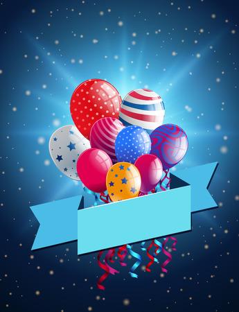 Modèle de bannière avec des ballons colorés sur fond bleu illustration Banque d'images - 87571192