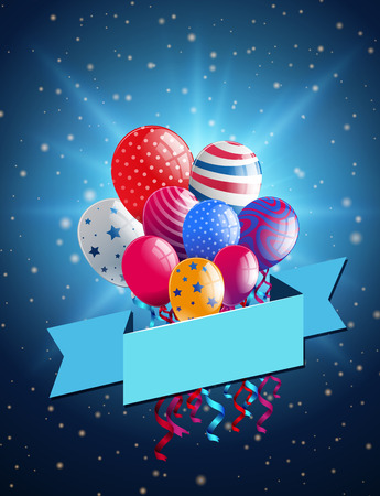 Banner template with colorful balloons on blue background illustration