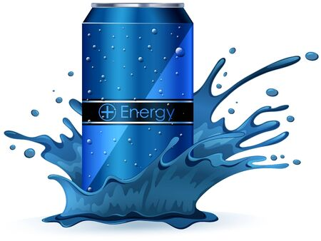 tin: Energy drink in blue splash illustration