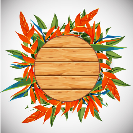 circl: Wooden board with bird of paradise in background illustration