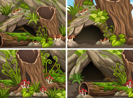Four forest scenes with woods and cave illustration