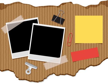 Twee photoframes en blocnotes op karton achtergrondillustratie