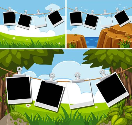 Blank photo frames on three different backgrounds illustration