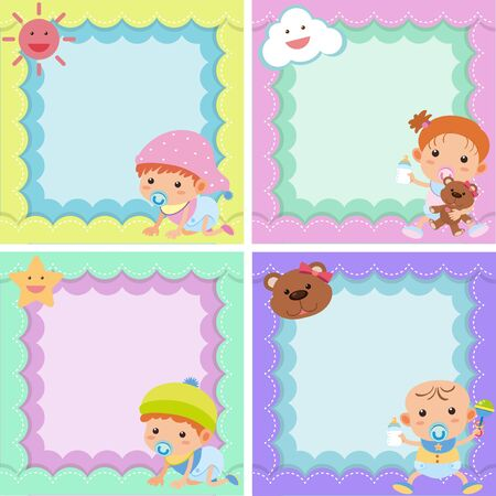 bebe a bordo: Four background template with cute kids illustration
