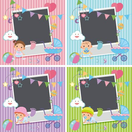 Four photo frames with baby items illustration