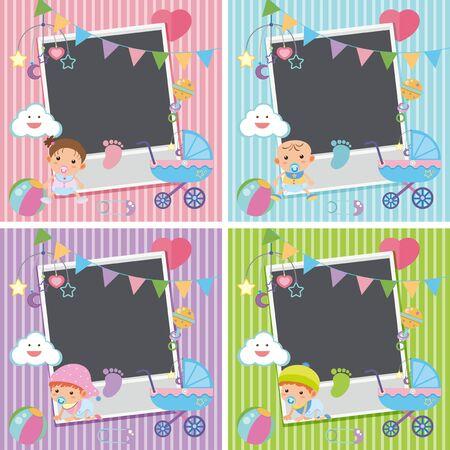 Vier fotolijsten met baby items illustratie