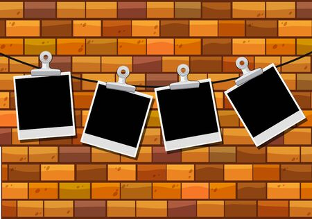 paper background: Photo frames hanging on brick wall illustration