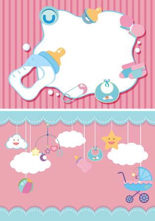 paper background: Two background template with baby items illustration Illustration