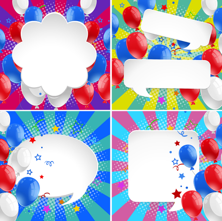 paper background: Four background template with bright color and balloons illustration Illustration
