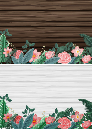 paper background: Two background with wooden boards and flowers illustration