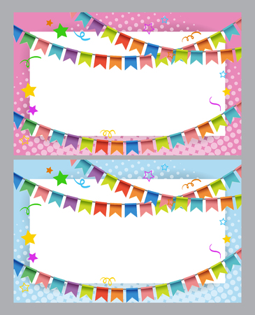 paper background: Card template with colorful flags illustration Illustration