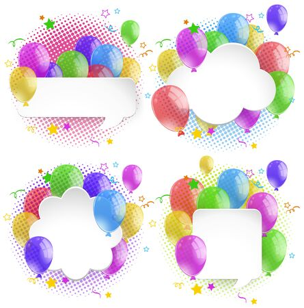 paper background: Four bubble speech with colorful balloons illustration
