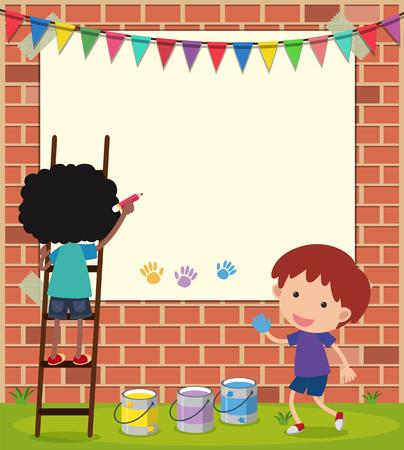 壁のイラストを描く男の子と枠線テンプレート  イラスト・ベクター素材