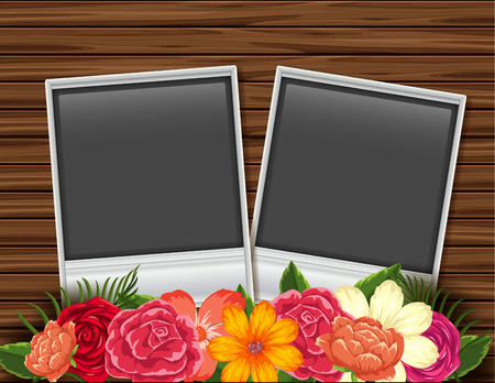 Two photoframes with flowers on wooden board background illustration Stock Illustratie