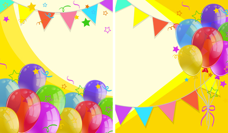 Background with party flags and balloons illustration