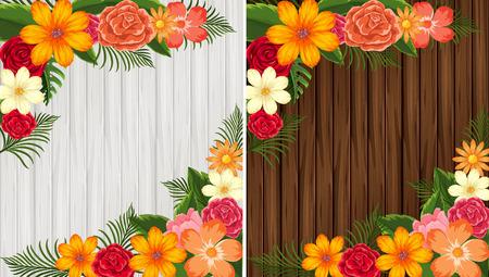 白と茶色の図に木製の背景に色とりどりの花